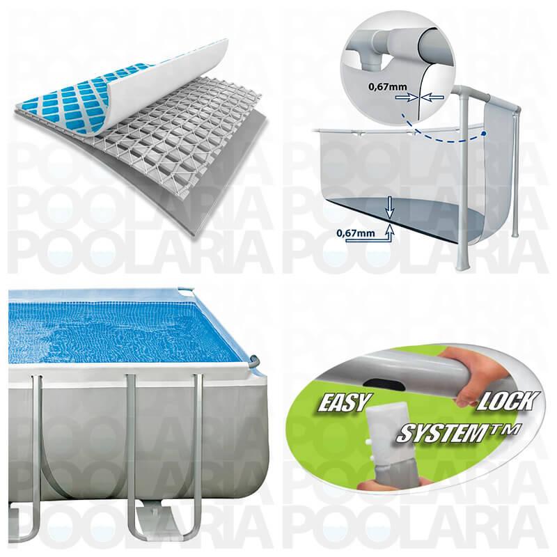 Piscina intex rectangular ultra frame 549x274x132 dep for Piscina plastico rectangular